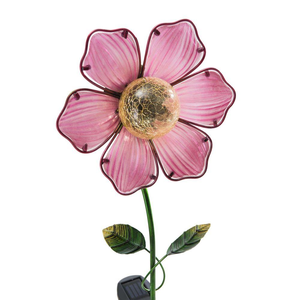 Sunjoy Pink Flower LED Solar Garden Stake