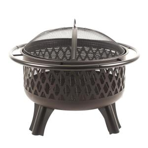 Hampton Bay Piedmont 30 inch Steel Fire Pit in Black with Cooking Grate by Hampton Bay