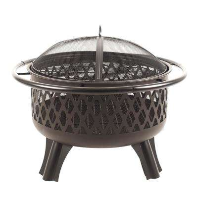 Piedmont 30 in. Steel Fire Pit in Black with Cooking Grate