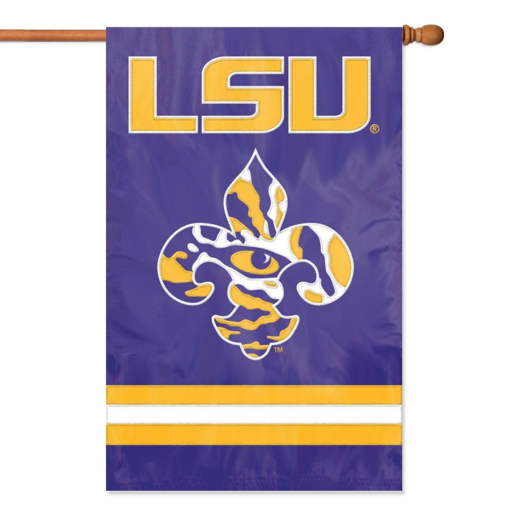 Party Animal Lsu Tigers Applique Banner Flag Fleur De Lis