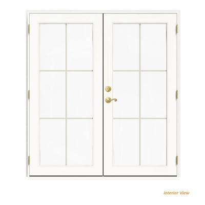 72 in. x 80 in. W-2500 White Clad Wood Left-Hand 6 Lite French Patio Door w/White Paint Interior