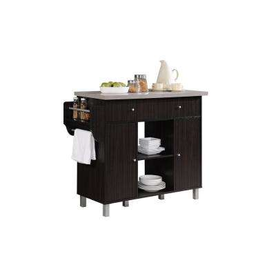 Kitchen Island Chocolate Grey with Spice Rack and Towel Holder