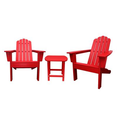 Marina Red 3-Piece Poly Plastic Outdoor Patio Adirondack Chair and Table Set