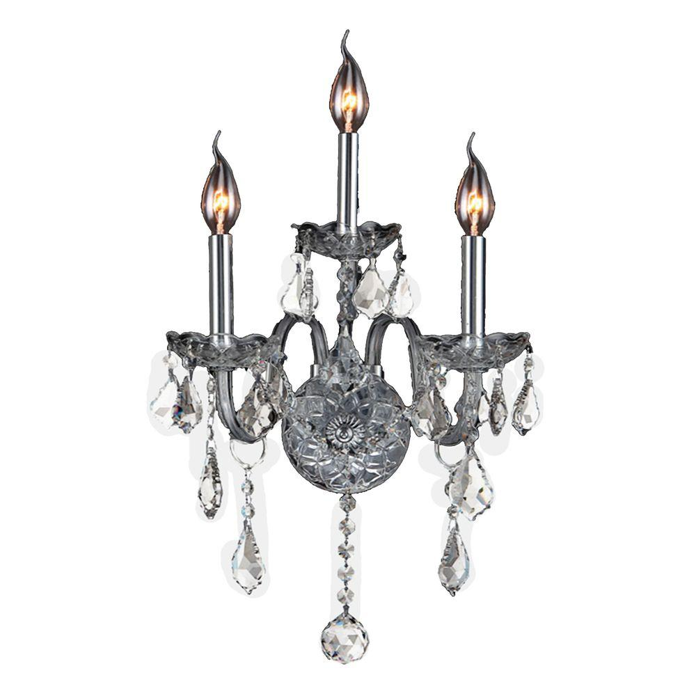 Worldwide Lighting Provence 3-Light Chrome Clear Crystal Sconce