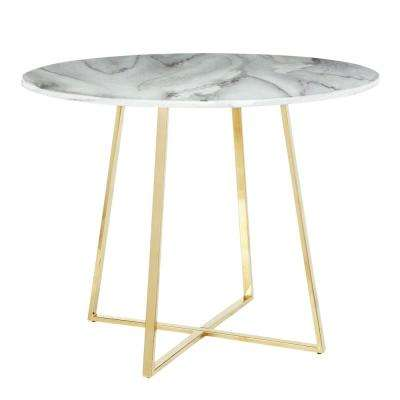 Cosmo Round Dining Table in Gold with White Marble Top
