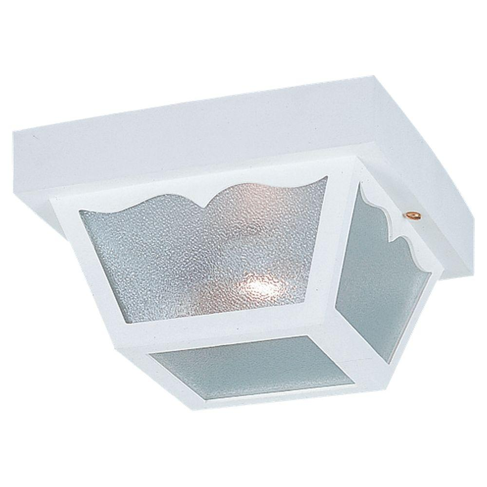 Sea Gull Lighting 2-Light White Outdoor Ceiling Fixture
