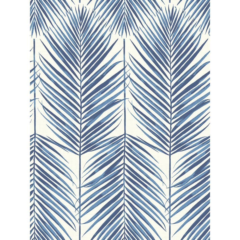 Paradise Coastal Blue Palm Leaf Wallpaper