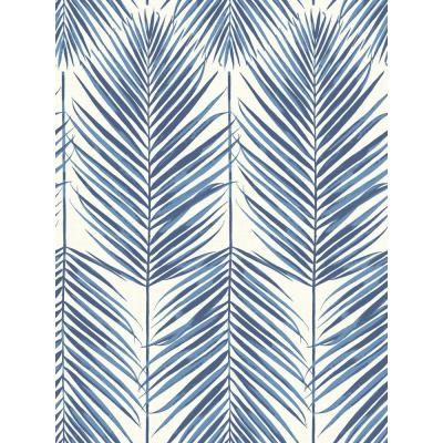 Paradise Coastal Blue Palm Leaf Wallpaper