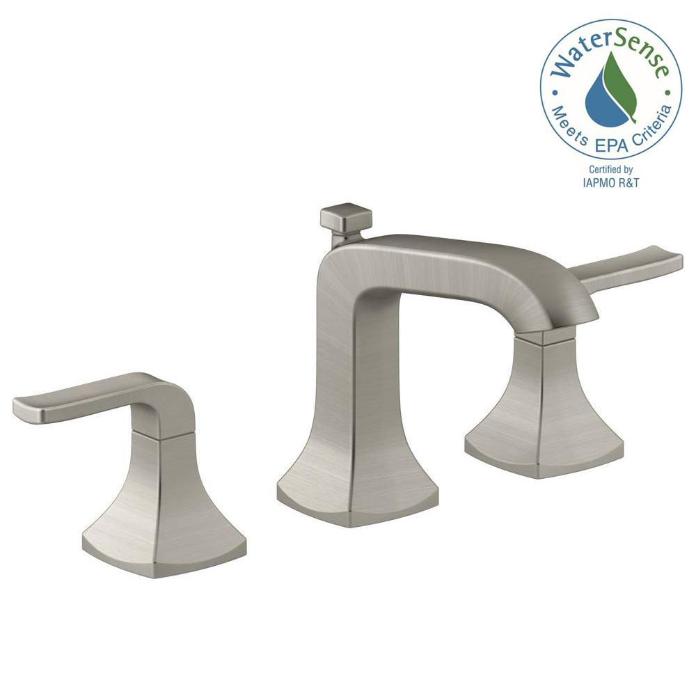KOHLER Rubicon 8 In. Widespread 2 Handle Bathroom Faucet In Vibrant Brushed  Nickel