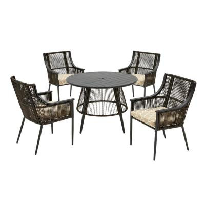Bayhurst 5-Piece Black Wicker Outdoor Patio Dining Set with CushionGuard Toffee Trellis Tan Cushions