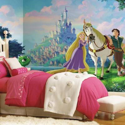 72 in. x 126 in. Disney Princess Tangled XL Chair Rail 7-Panel Prepasted Mural