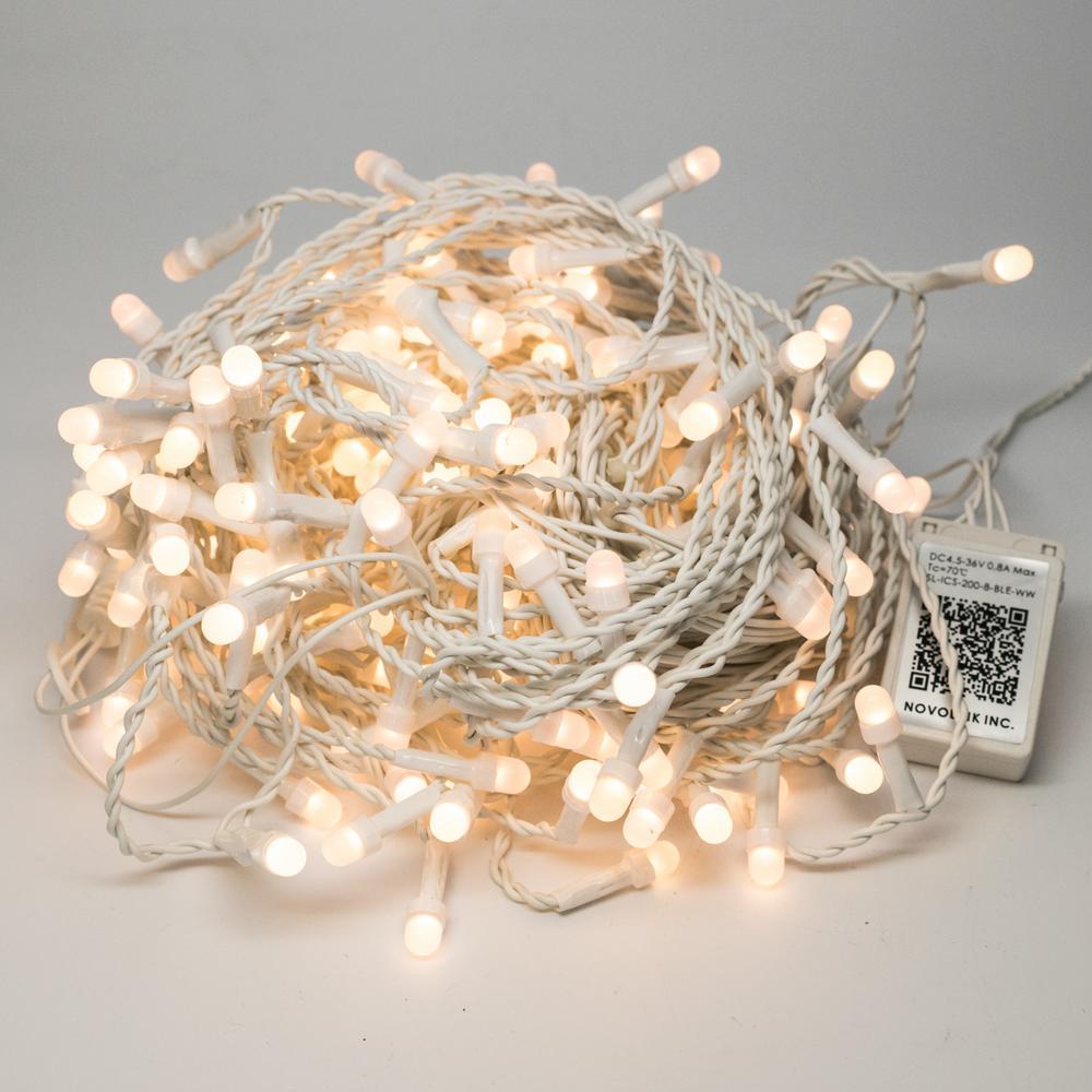 Bundle - 200 Light 8 mm Mini Globe Warm White Icicle LED String Light with Wireless Smart Control + 200 Light Add-on