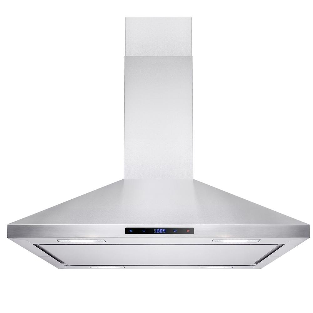 Akdy 36 In Convertible Kitchen Island Mount Range Hood Stainless Steel With Leds And