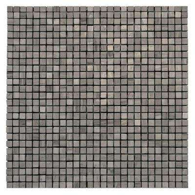 Haisa Marble Dark Micro 12 in. x 12 in. x 6.35 mm Marble Mesh-Mounted Mosaic Floor and Wall Tile (10 sq. ft. / case)