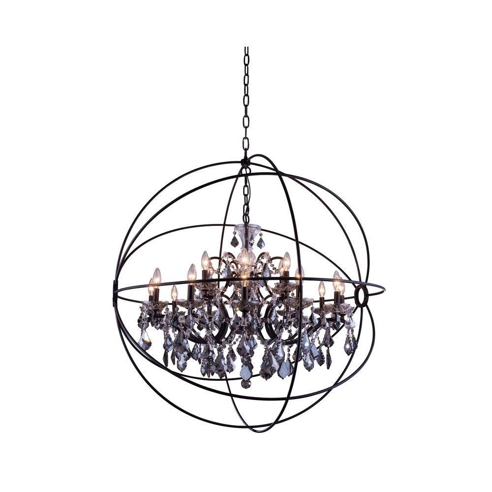 Elegant Lighting Geneva 18-Light Dark Bronze Chandelier with Silver Shade Grey Crystal