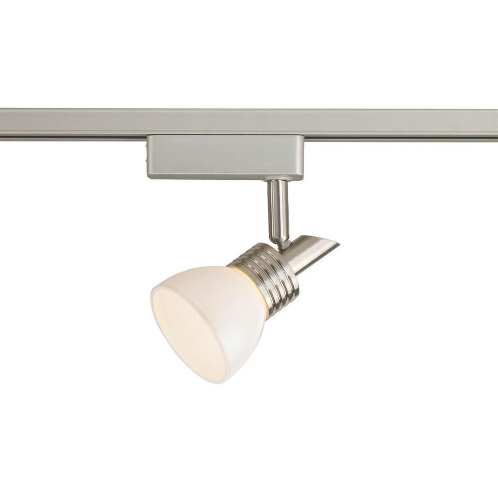 LED Brushed Nickel Linear Track Lighting Head with White Glass