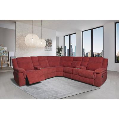 6-Piece Red Fabric Reclining Sectional