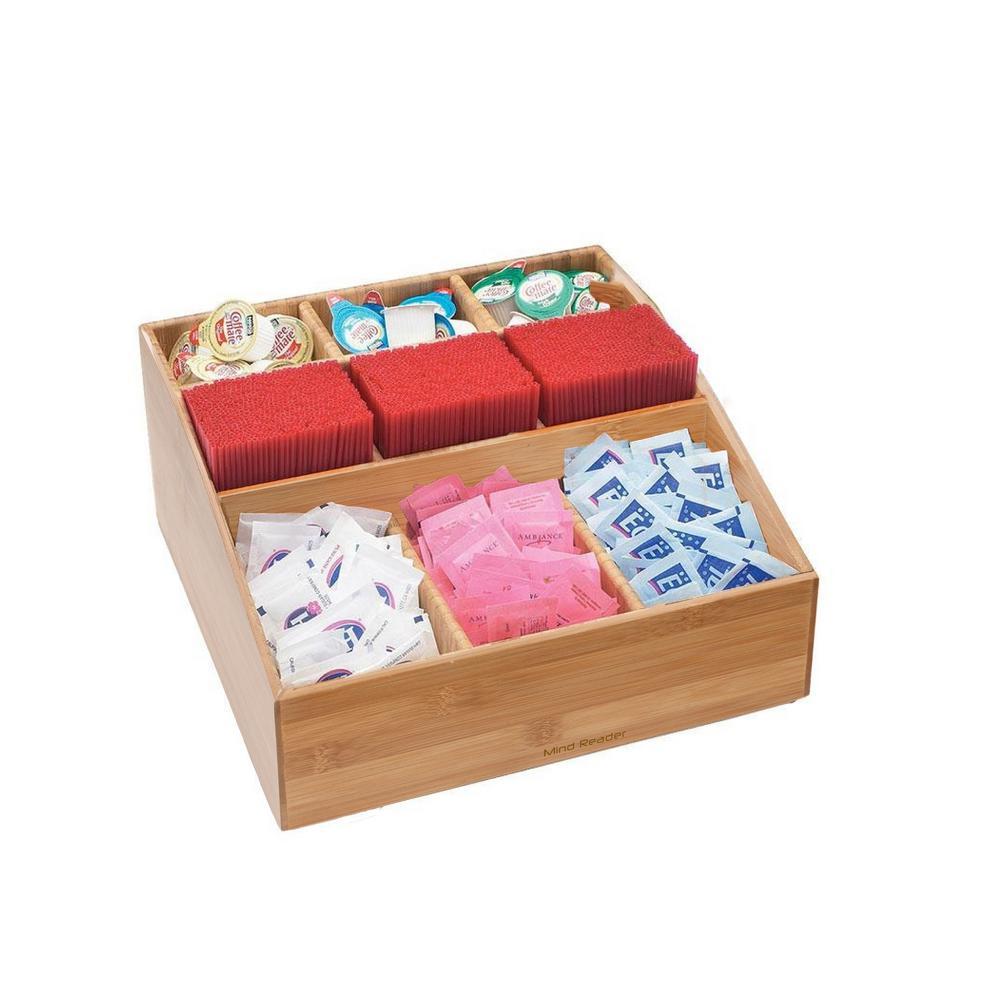 Square 9-Compartment Condiment Organizer in Bamboo