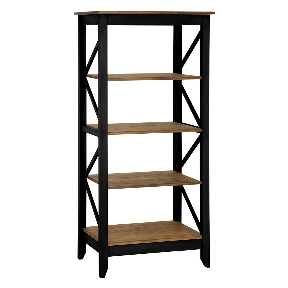 Manhattan Comfort Jay 315 In Black Wash Solid Wood Bookcase With 4 Shelves