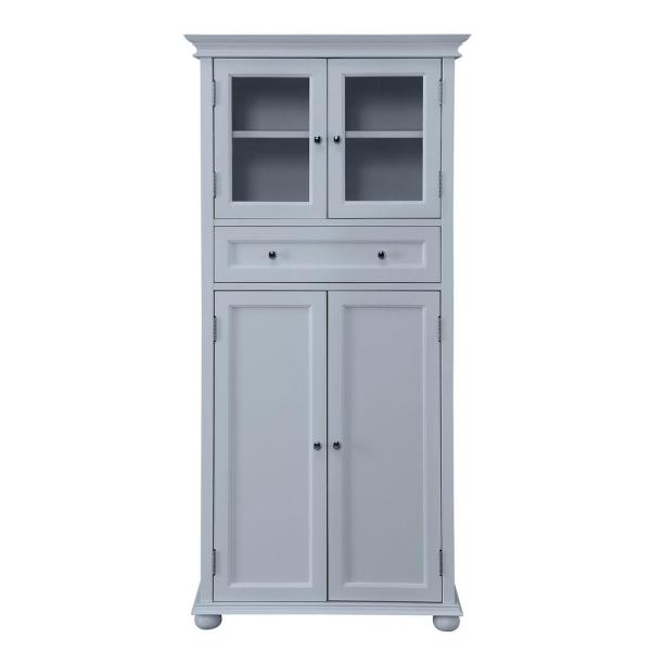 Home Decorators Collection Hampton Harbor 25 In W 4 Door Tall Cabinet In Dove Grey Bf 22673 Dg The Home Depot