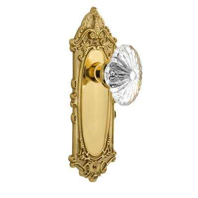 Victorian Plate 2-3/8 in. Backset Unlacquered Brass Privacy Oval Fluted Crystal Glass Door Knob