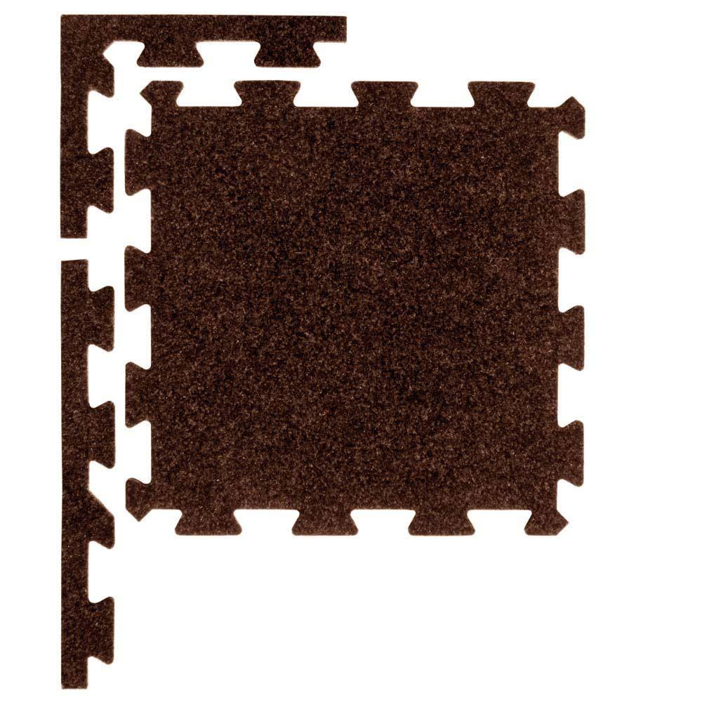 Apache Mills Pecan 37 in. x 54 in. Plush Tiles