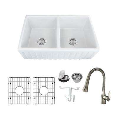 Logan All-in-One Farmhouse/Apron-Front Fireclay 33 in. Equal Double Bowl Kitchen Sink with Faucet in White