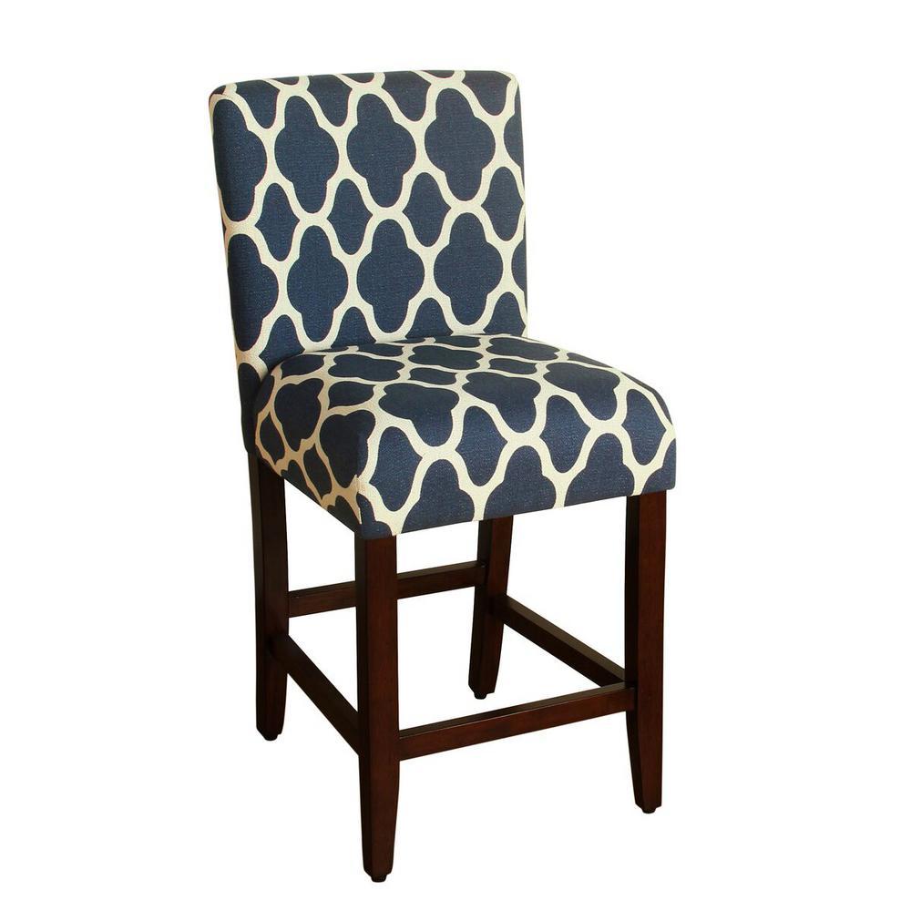 Upholstered 24 in. Navy Blue Bar Stool
