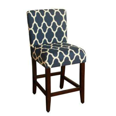 Upholstered 24 in. Navy Blue Bar Stool