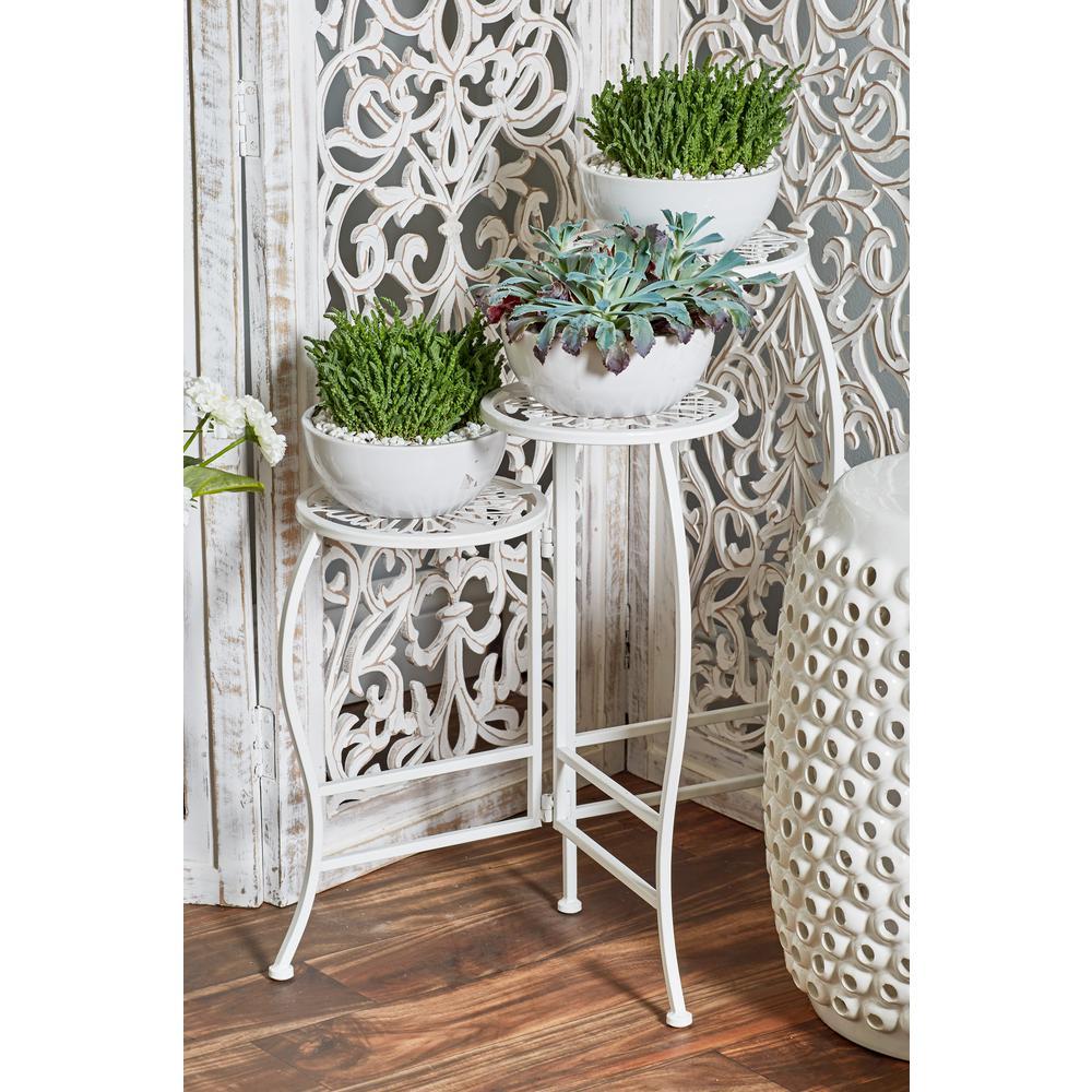 White Iron Folding Plant Stand