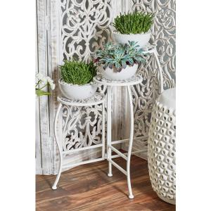 White Iron Folding Plant Stand from Plant Accessories