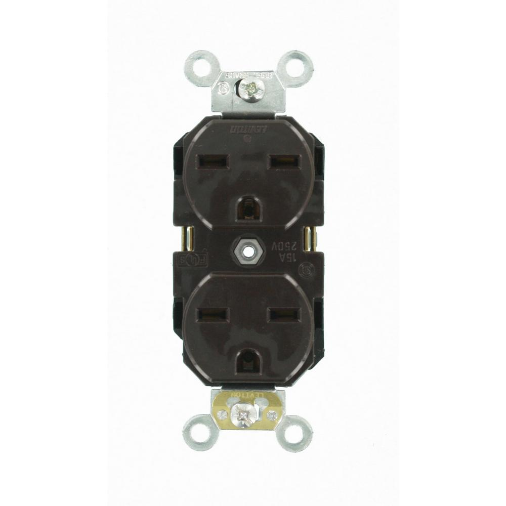 15 Amp Industrial Grade Heavy Duty Self Grounding Duplex Outlet, Brown