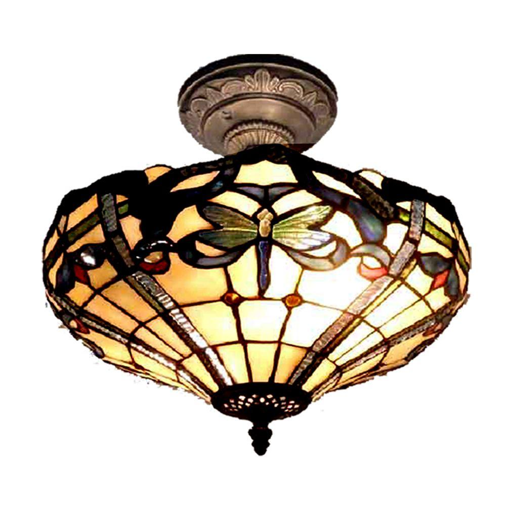 Dale Tiffany Cabrini 2 Light Antique Bronze Semi Flush Mount Light With Art Glass Shade Th12151 The Home Depot
