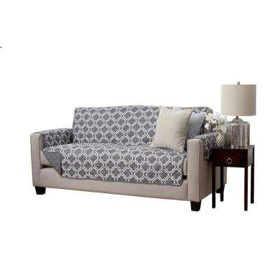 Adalyn Collection Charcoal Printed Reversible Sofa Furniture Protector