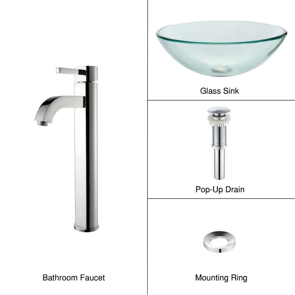 Glass Vessel Sink in Clear with Ramus Faucet in Chrome