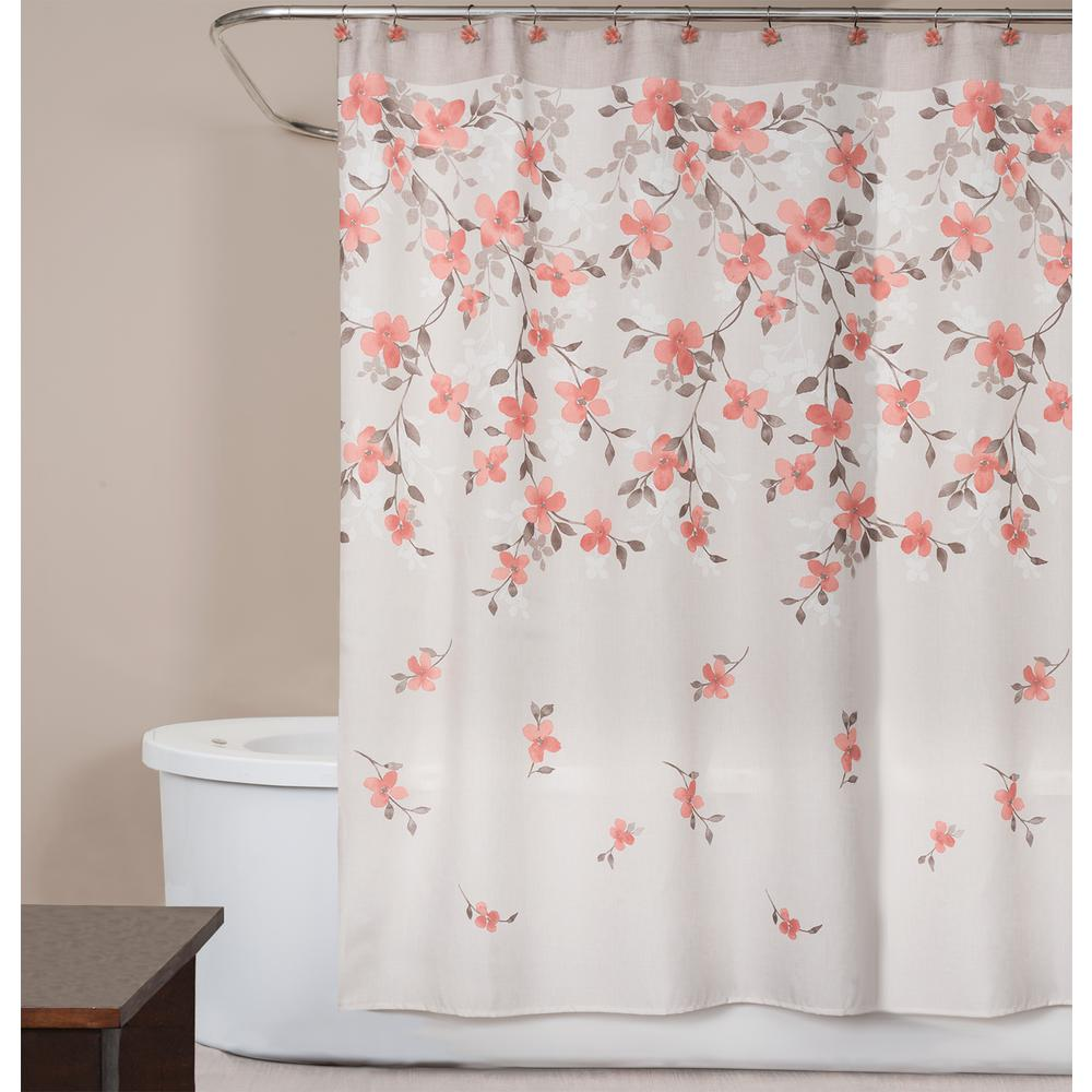 Saturday Knight Coral Garden Floral 72 In Polyester Shower Curtain