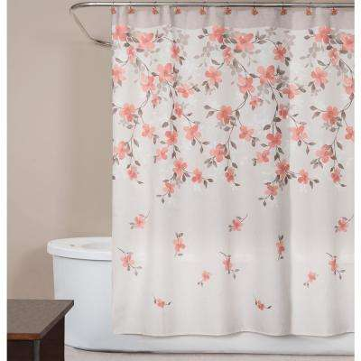 Coral Garden Floral 72 In Polyester Shower Curtain