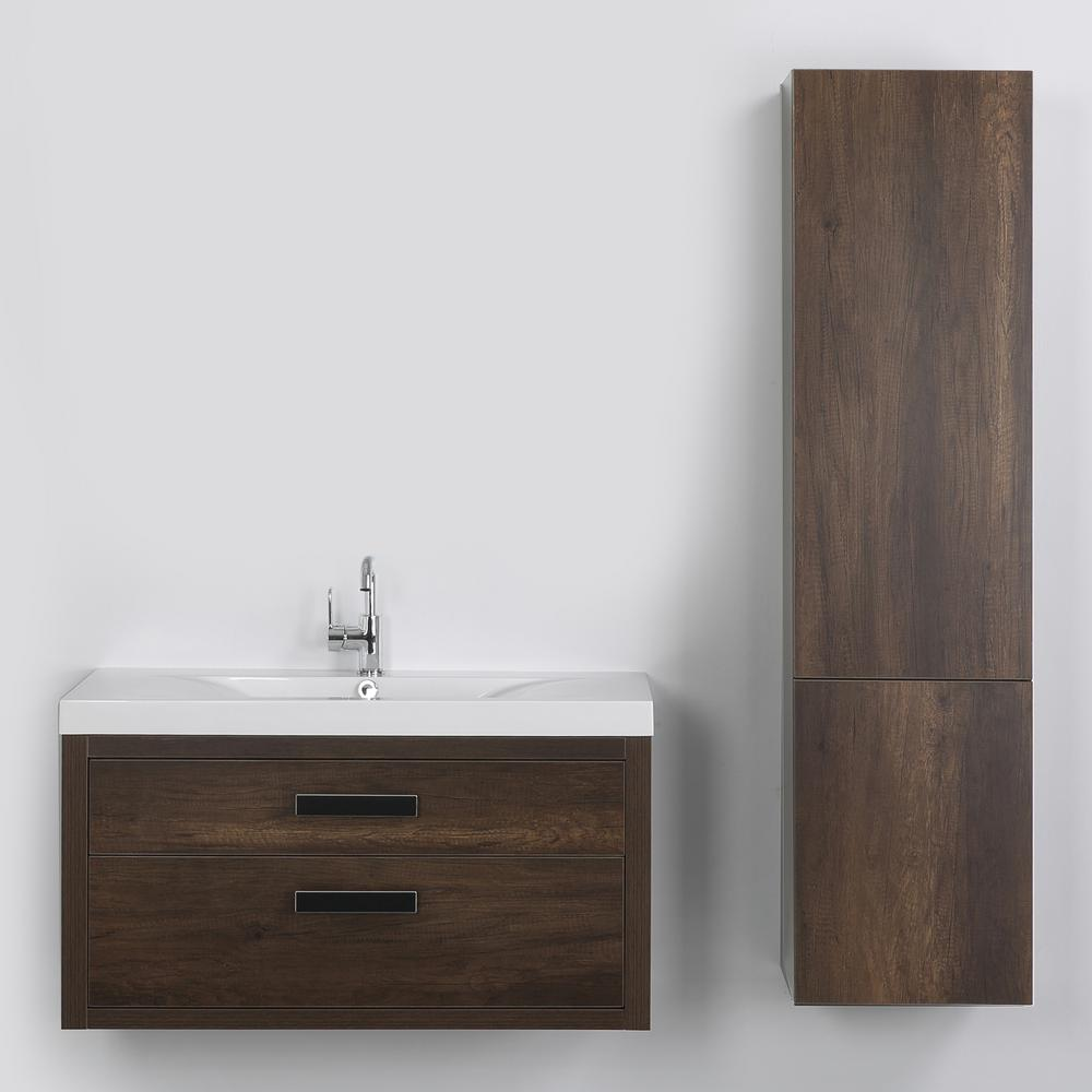 Streamline 39.4 in. W x 19.4 in. H Bath Vanity in Brown with Resin Vanity Top in White with White Basin