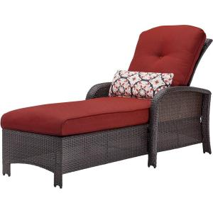 Cambridge Corolla Wicker Outdoor Chaise Lounge with Red Cushions by Cambridge