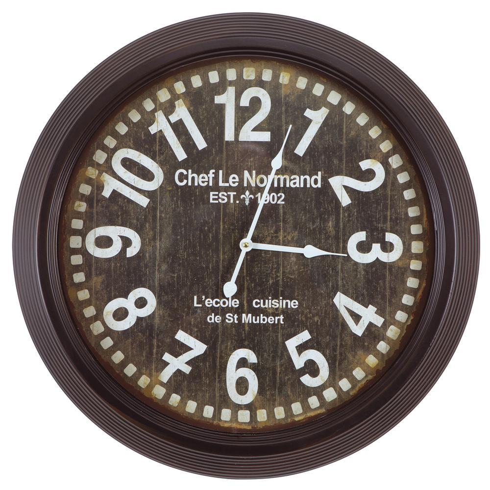 24 in. Circular Iron Wall Clock in Gray Frame