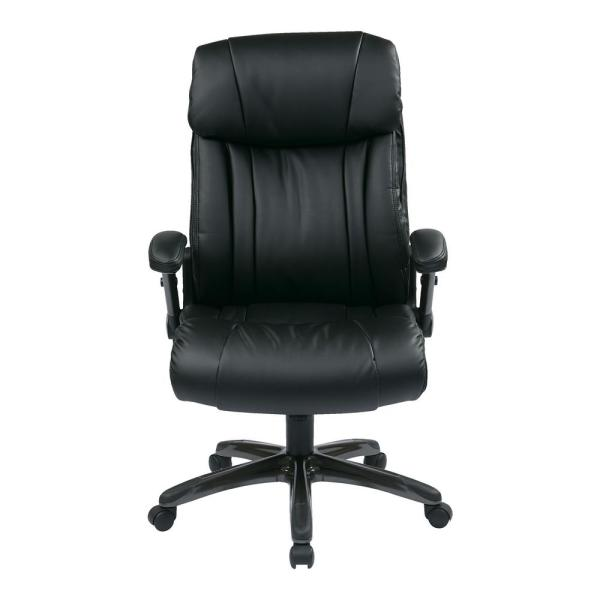 Office Star Products Executive Bonded Leather Chair in Titanium/Black with