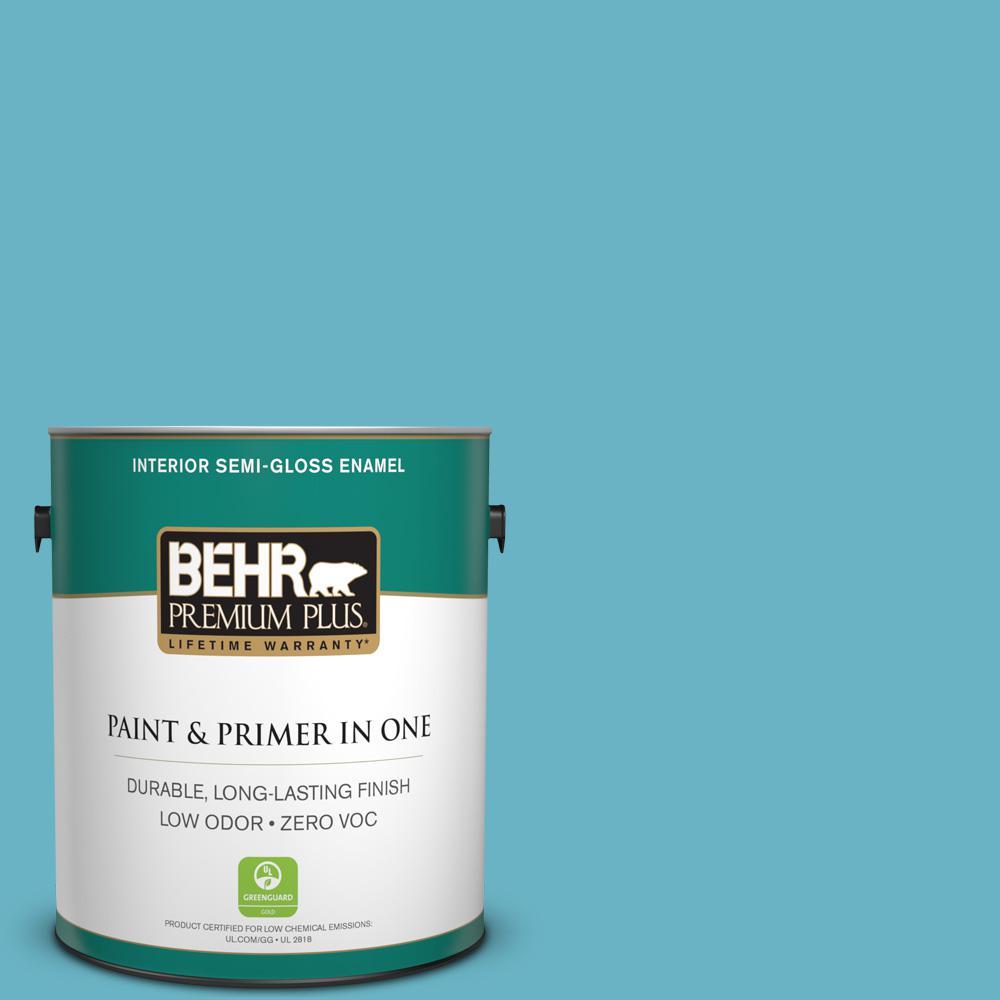 BEHR Premium Plus 1-gal. #530D-5 Riverside Blue Zero VOC Semi-Gloss Enamel Interior Paint