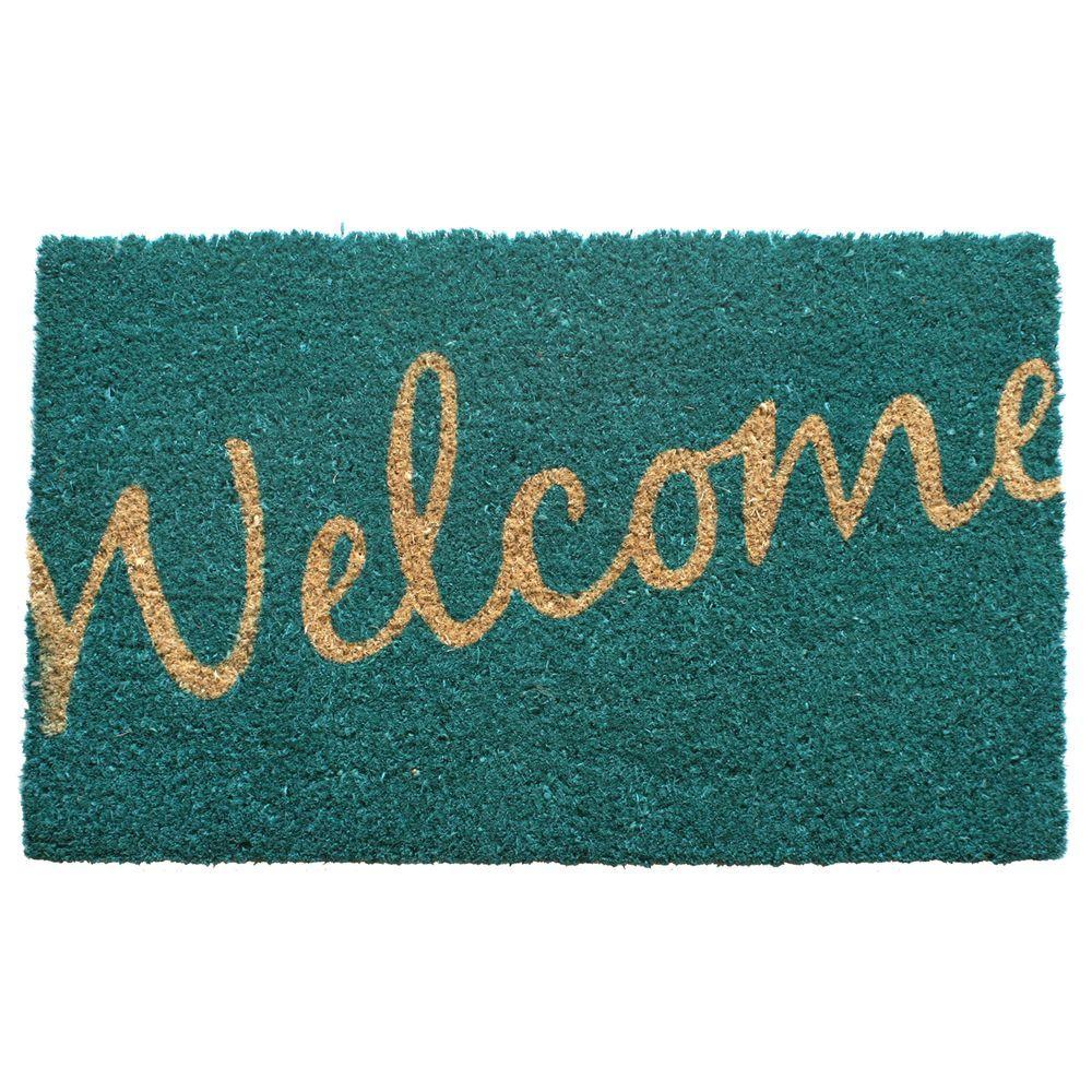 Entryways Cursive Welcome 17 inch x 28 inch Non Slip Coir Door Mat by Entryways