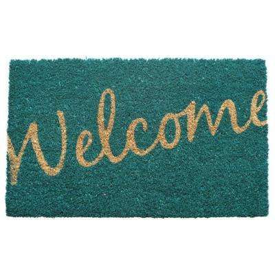Cursive Welcome 17 in. x 28 in. Non Slip Coir Door Mat