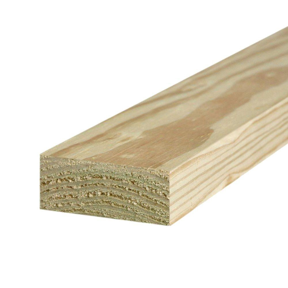 2 in. x 4 in. x 8 ft. #2 Ground Contact Pressure-Treated Lumber ...