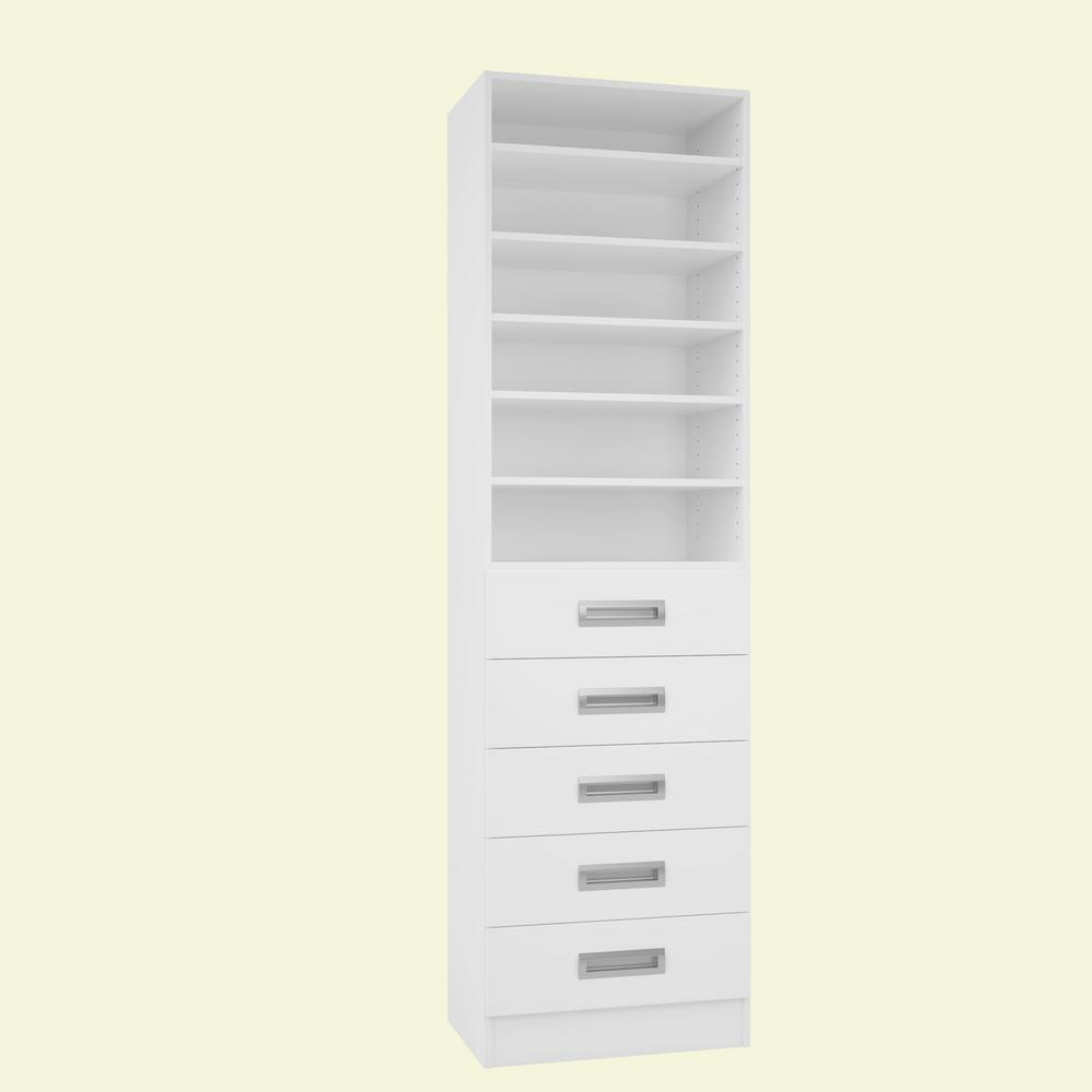 Home Decorators Collection 15 in. D x 24 in. W x 84 in. H Firenze Bianco Melamine with 6-Shelves and 5-Drawers Closet System Kit