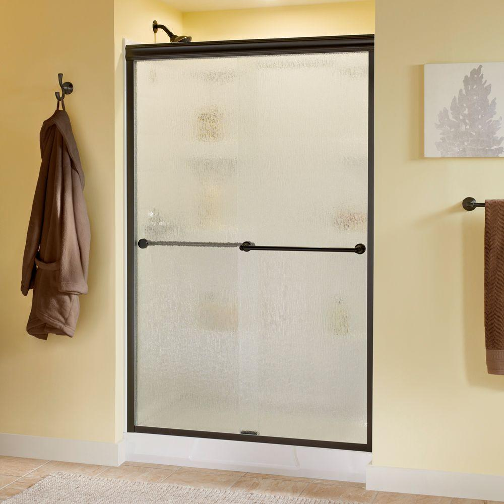 Delta Crestfield 48 in. x 70 in. Semi-Frameless Sliding Shower Door in Bronze with Rain Glass