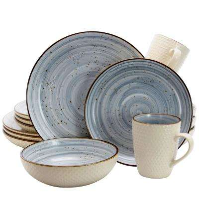 Mellow 16-Piece Powder Blue Textured Dinnerware Set