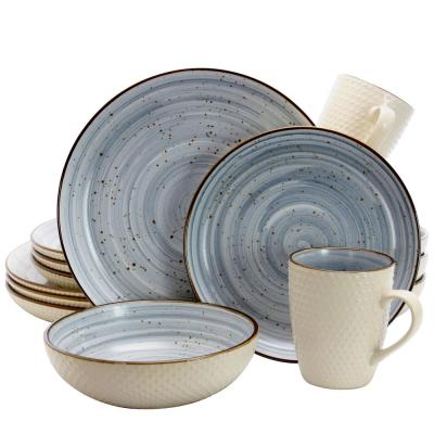 Mellow 16-Piece Country/Cottage Powder Blue Earthenware Dinnerware Set (Service for 4)