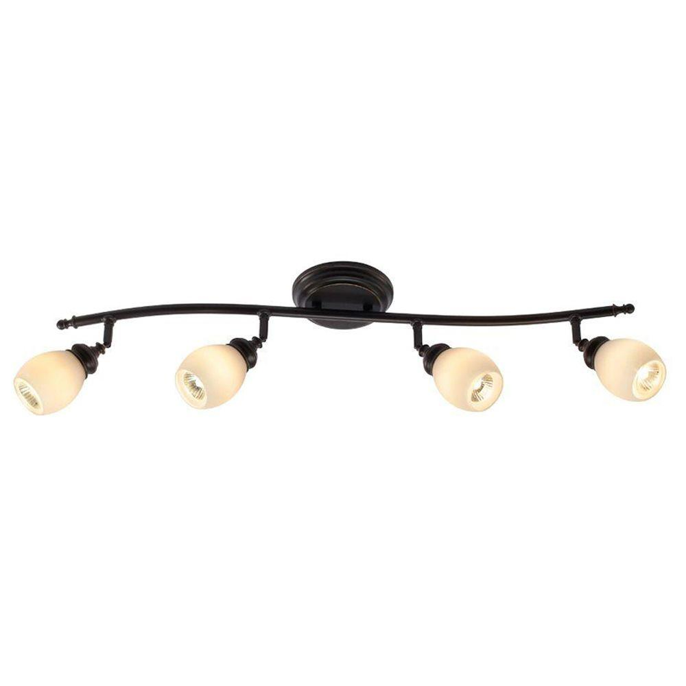 Hampton Bay 4 Light Bronze Directional Ceiling Or Wall Track Lighting Fixture